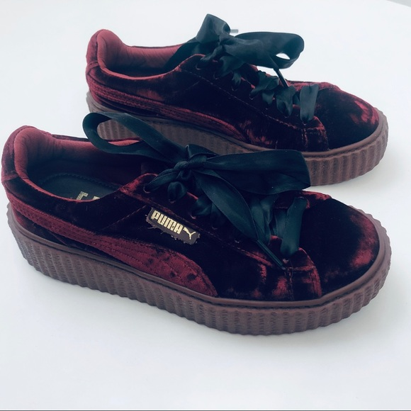 Rihanna Fenty Velvet Velour Creepers Royal Purple